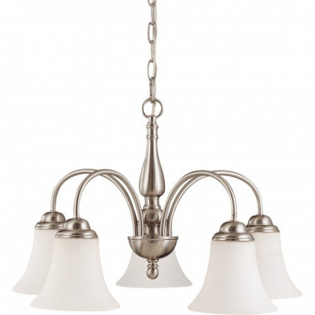 NUVO 60-1822 5 Light Chandelier Brushed Nickel Finish, Satin Glass