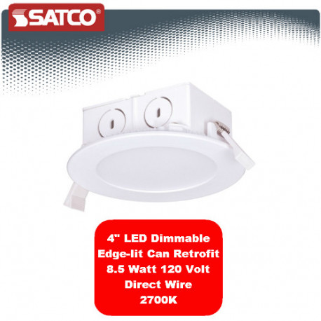 "Satco S9055 LED 4"" Edge Lit Can Retrofit Kit: 8.5 watt, 2700K dimmable"