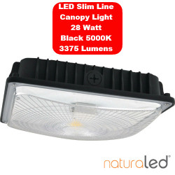 NaturaLED 7490 LED Slim Canopy Fixture: 28 watt, 5000K, motion sensor
