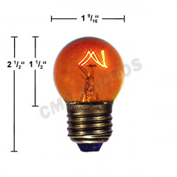 Light Bulb: 7.5 watt, 130 volt, transparent amber, G12.5, E26