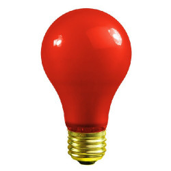 40A/R Satco S4980 Light Bulb: 40 watt, 130 volt, ceramic red A19, E26