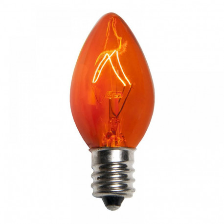 1005C7A Light Bulb: 5 watt, 130 volt, transparent amber C7, E12