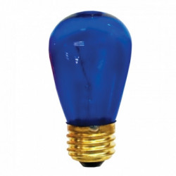 Satin Blue Light Bulb: 11 watt, 130 volt, satin blue, S14, E26