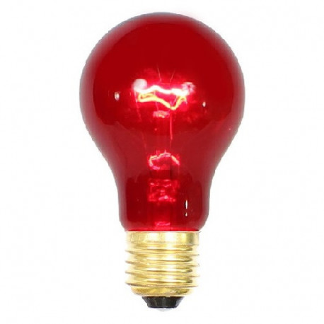 Halco 101154 Light Bulb: 25 watt, 130 volt, transparent red A19, E26