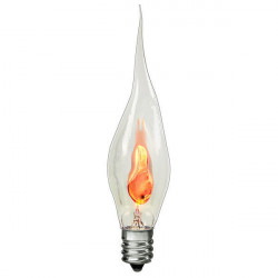 FLICKER SILICONE Light Bulb: 3 watt, 120 volt, bent tip torpedo, E12