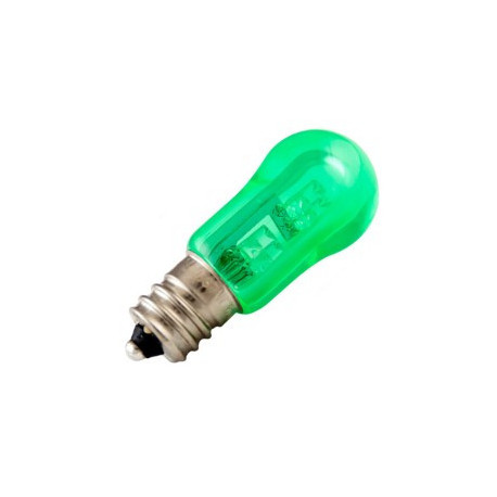 Light Bulb: 6 watt, 30 volt, S6 transparent green incandescent, E12
