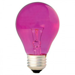 25A/TPK 120V Light Bulb: 25 watt, 120 volt, transparent pink A19, E26