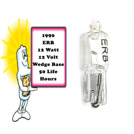 ERB/1990 Light Bulb: 1 amp, 12 volt, 12 watt, T2.25 with a wedge base