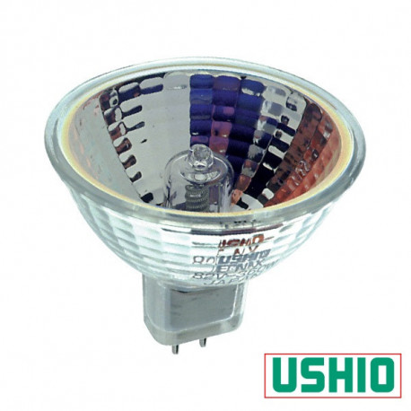 JCR82V-410W FXL Ushio 1000636 Light Bulb: 410w 82v MR16 halogen, GY5.3