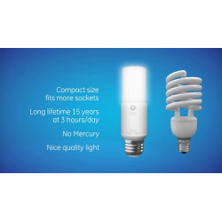 GE 75593 LED Bright Stik 2 Pack Light Bulb: 15 watt replaces 100 watt incandescent , 2700K, T10