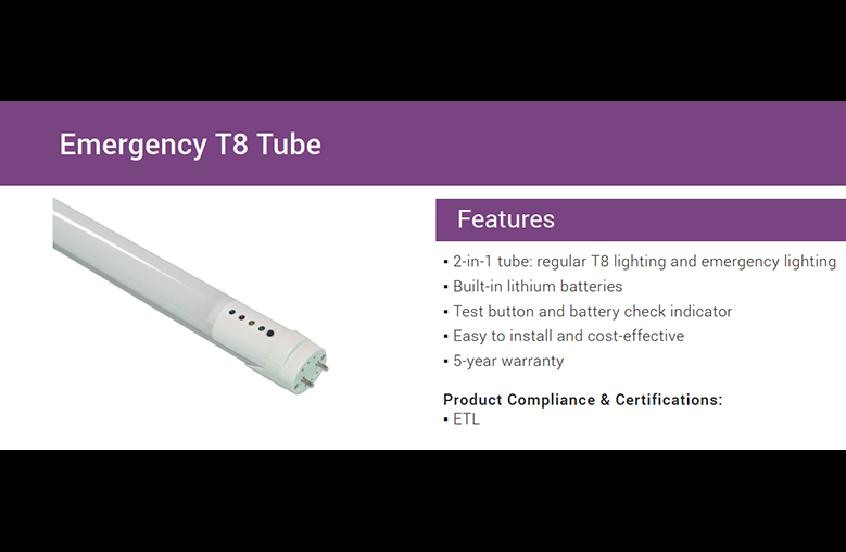 Emergency LED T8 Tube With Back Up Battery Inside